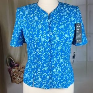 Kasper Blue Floral Short Sleeved Blazer